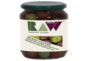 Raw Health, Organic Mixed Green & Kalamata Olives in Raw Extra Virgin Olive Oil