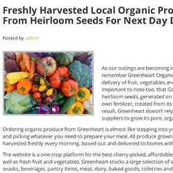 Freshly Harvested Local Organic Produce Grown Mar 2020